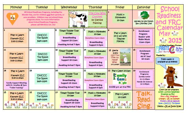 Kindergarten Readiness Calendar : School readiness and frc calendar may del norte