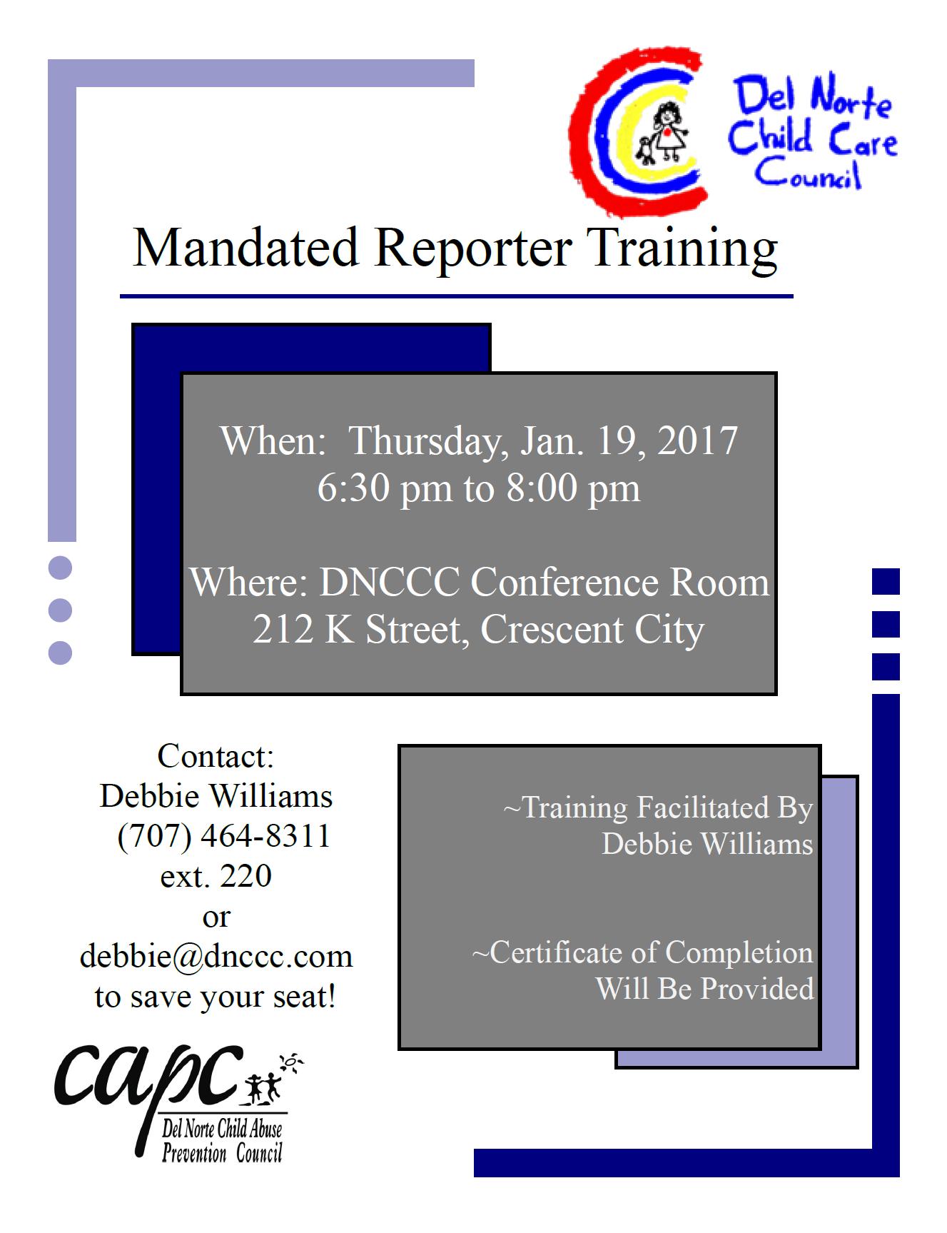 Mandated Reporter Del Norte Child Care Council