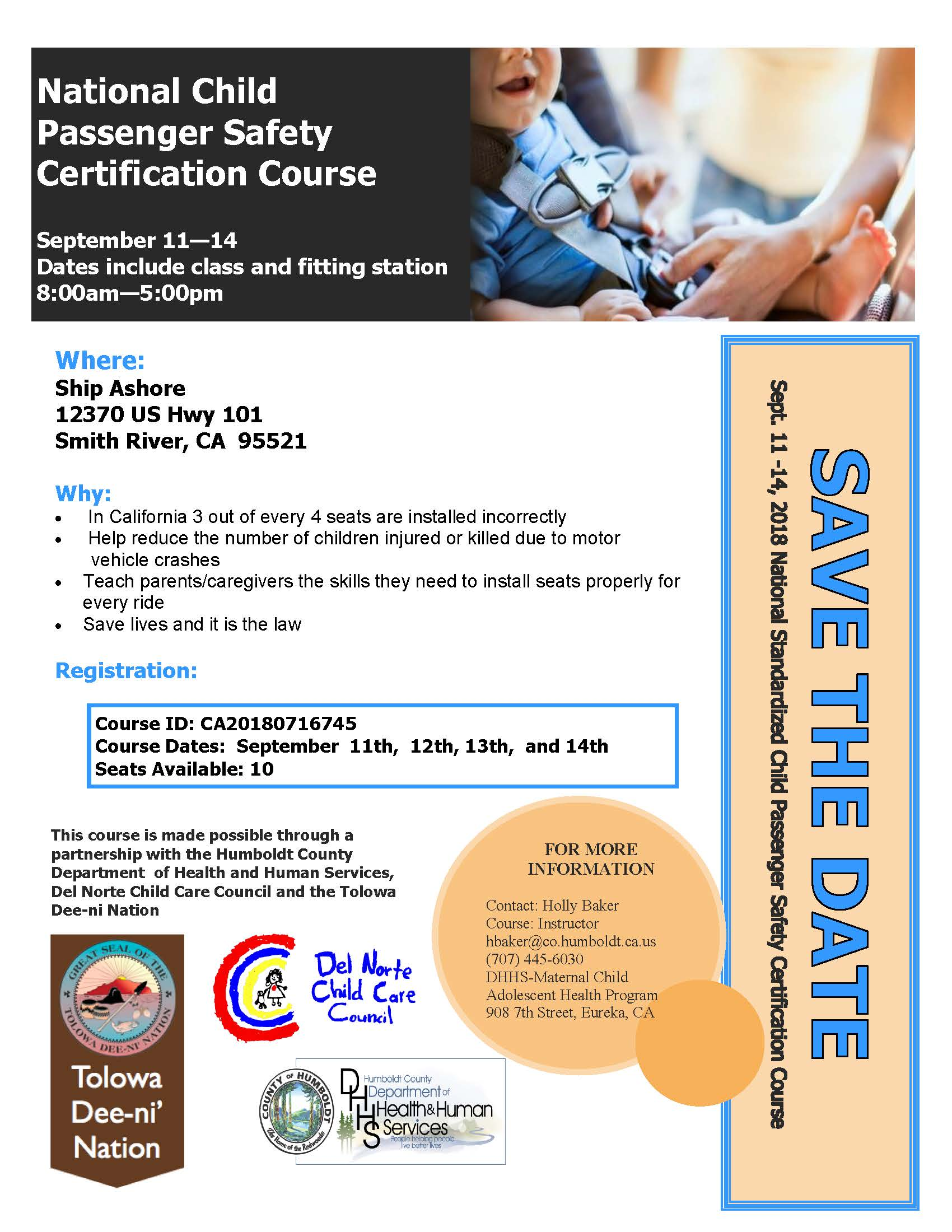 Cps Technician Training Flyer Sept 11 Del Norte Child Care Council